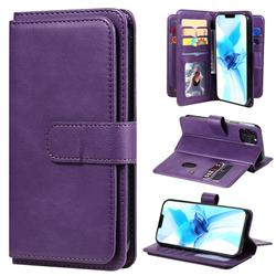 Multi-function Ten Card Slots and Photo Frame PU Leather Wallet Phone Case Cover for iPhone 12 / 12 Pro (6.1 inch) - Violet