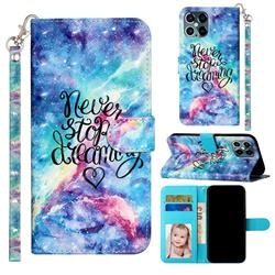 Blue Starry Sky 3D Leather Phone Holster Wallet Case for iPhone 12 / 12 Pro (6.1 inch)