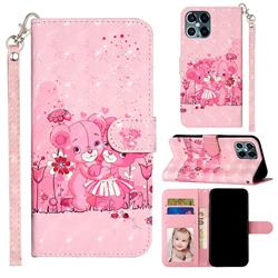 Pink Bear 3D Leather Phone Holster Wallet Case for iPhone 12 / 12 Pro (6.1 inch)