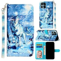 Snow Wolf 3D Leather Phone Holster Wallet Case for iPhone 12 / 12 Pro (6.1 inch)