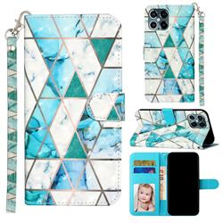 Stitching Marble 3D Leather Phone Holster Wallet Case for iPhone 12 / 12 Pro (6.1 inch)