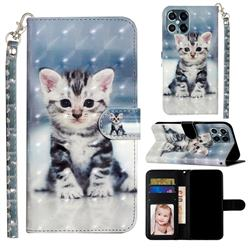 Kitten Cat 3D Leather Phone Holster Wallet Case for iPhone 12 / 12 Pro (6.1 inch)