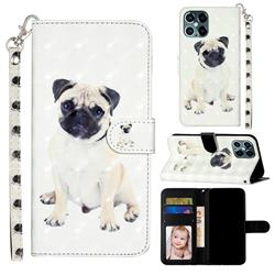 Pug Dog 3D Leather Phone Holster Wallet Case for iPhone 12 / 12 Pro (6.1 inch)
