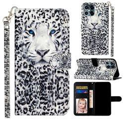 White Leopard 3D Leather Phone Holster Wallet Case for iPhone 12 / 12 Pro (6.1 inch)