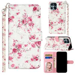 Rambler Rose Flower 3D Leather Phone Holster Wallet Case for iPhone 12 / 12 Pro (6.1 inch)