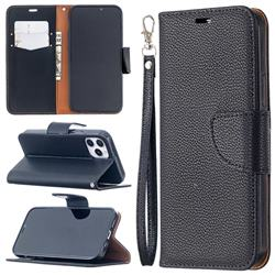 Classic Luxury Litchi Leather Phone Wallet Case for iPhone 12 / 12 Pro (6.1 inch) - Black