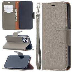 Classic Luxury Litchi Leather Phone Wallet Case for iPhone 12 / 12 Pro (6.1 inch) - Gray