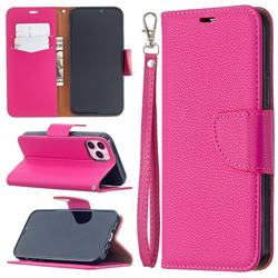 Classic Luxury Litchi Leather Phone Wallet Case for iPhone 12 / 12 Pro (6.1 inch) - Rose