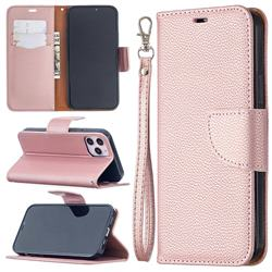 Classic Luxury Litchi Leather Phone Wallet Case for iPhone 12 / 12 Pro (6.1 inch) - Golden