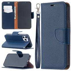 Classic Luxury Litchi Leather Phone Wallet Case for iPhone 12 / 12 Pro (6.1 inch) - Blue