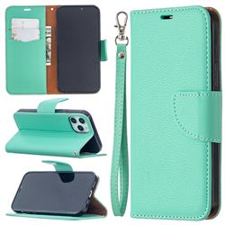 Classic Luxury Litchi Leather Phone Wallet Case for iPhone 12 / 12 Pro (6.1 inch) - Green
