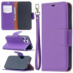 Classic Luxury Litchi Leather Phone Wallet Case for iPhone 12 / 12 Pro (6.1 inch) - Purple