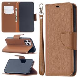 Classic Luxury Litchi Leather Phone Wallet Case for iPhone 12 / 12 Pro (6.1 inch) - Brown