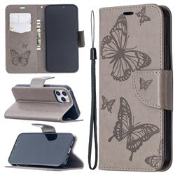 Embossing Double Butterfly Leather Wallet Case for iPhone 12 Pro (6.1 inch) - Gray