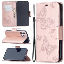 Embossing Double Butterfly Leather Wallet Case for iPhone 12 Pro (6.1 inch) - Rose Gold