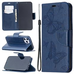 Embossing Double Butterfly Leather Wallet Case for iPhone 12 Pro (6.1 inch) - Dark Blue