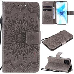 Embossing Sunflower Leather Wallet Case for iPhone 12 Pro (6.1 inch) - Gray