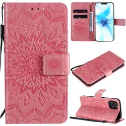Embossing Sunflower Leather Wallet Case for iPhone 12 / 12 Pro (6.1 inch) - Pink