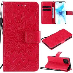 Embossing Sunflower Leather Wallet Case for iPhone 12 / 12 Pro (6.1 inch) - Red