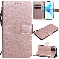 Embossing Sunflower Leather Wallet Case for iPhone 12 Pro (6.1 inch) - Rose Gold