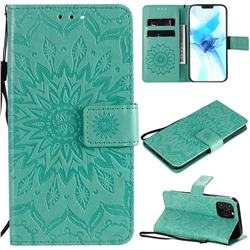 Embossing Sunflower Leather Wallet Case for iPhone 12 Pro (6.1 inch) - Green