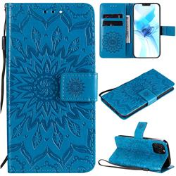Embossing Sunflower Leather Wallet Case for iPhone 12 Pro (6.1 inch) - Blue