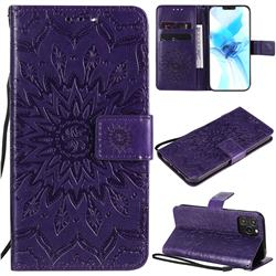 Embossing Sunflower Leather Wallet Case for iPhone 12 Pro (6.1 inch) - Purple