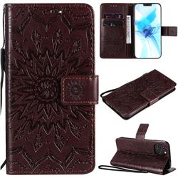 Embossing Sunflower Leather Wallet Case for iPhone 12 Pro (6.1 inch) - Brown