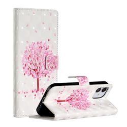 Sakura Flower Tree 3D Painted Leather Phone Wallet Case for iPhone 12 Pro (6.1 inch)