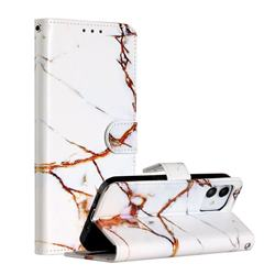 Platinum Marble Smooth Leather Phone Wallet Case for iPhone 12 Pro (6.1 inch)