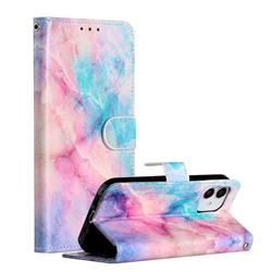 Blue Pink Marble Smooth Leather Phone Wallet Case for iPhone 12 Pro (6.1 inch)