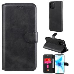Retro Calf Matte Leather Wallet Phone Case for iPhone 12 Pro (6.1 inch) - Black