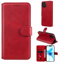 Retro Calf Matte Leather Wallet Phone Case for iPhone 12 Pro (6.1 inch) - Red