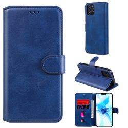 Retro Calf Matte Leather Wallet Phone Case for iPhone 12 Pro (6.1 inch) - Blue