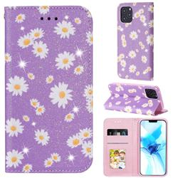 Ultra Slim Daisy Sparkle Glitter Powder Magnetic Leather Wallet Case for iPhone 12 Pro (6.1 inch) - Purple