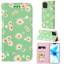 Ultra Slim Daisy Sparkle Glitter Powder Magnetic Leather Wallet Case for iPhone 12 Pro (6.1 inch) - Green