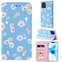 Ultra Slim Daisy Sparkle Glitter Powder Magnetic Leather Wallet Case for iPhone 12 Pro (6.1 inch) - Blue