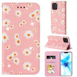 Ultra Slim Daisy Sparkle Glitter Powder Magnetic Leather Wallet Case for iPhone 12 Pro (6.1 inch) - Pink
