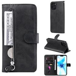 Retro Luxury Zipper Leather Phone Wallet Case for iPhone 12 Pro (6.1 inch) - Black