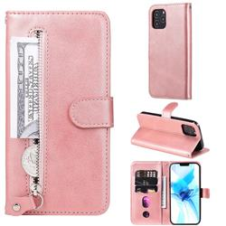 Retro Luxury Zipper Leather Phone Wallet Case for iPhone 12 Pro (6.1 inch) - Pink