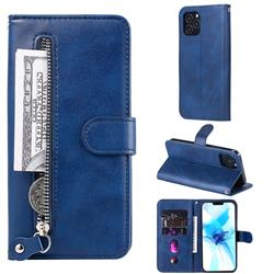 Retro Luxury Zipper Leather Phone Wallet Case for iPhone 12 Pro (6.1 inch) - Blue