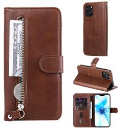 Retro Luxury Zipper Leather Phone Wallet Case for iPhone 12 Pro (6.1 inch) - Brown