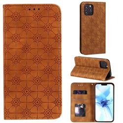 Intricate Embossing Four Leaf Clover Leather Wallet Case for iPhone 12 Pro (6.1 inch) - Yellowish Brown