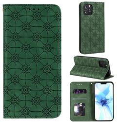 Intricate Embossing Four Leaf Clover Leather Wallet Case for iPhone 12 Pro (6.1 inch) - Blackish Green