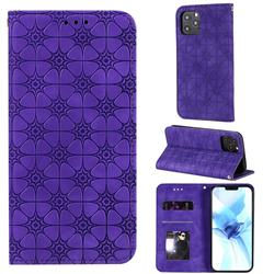 Intricate Embossing Four Leaf Clover Leather Wallet Case for iPhone 12 Pro (6.1 inch) - Purple
