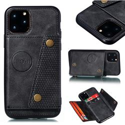 Retro Multifunction Card Slots Stand Leather Coated Phone Back Cover for iPhone 12 / 12 Pro (6.1 inch) - Black