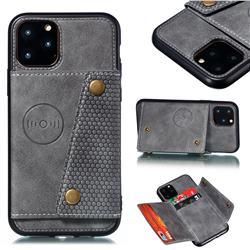 Retro Multifunction Card Slots Stand Leather Coated Phone Back Cover for iPhone 12 / 12 Pro (6.1 inch) - Gray