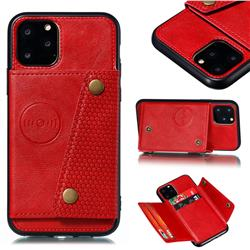 Retro Multifunction Card Slots Stand Leather Coated Phone Back Cover for iPhone 12 / 12 Pro (6.1 inch) - Red