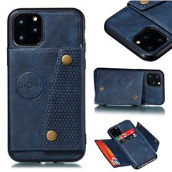 Retro Multifunction Card Slots Stand Leather Coated Phone Back Cover for iPhone 12 Pro (6.1 inch) - Blue