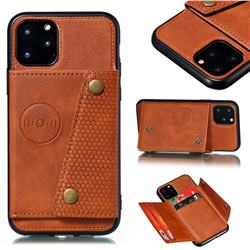 Retro Multifunction Card Slots Stand Leather Coated Phone Back Cover for iPhone 12 Pro (6.1 inch) - Brown